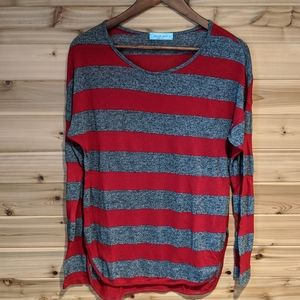 Chris & Carol Red and Gray Striped LS Tee